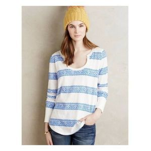 Anthro Little Yellow Button Farrier Striped Top